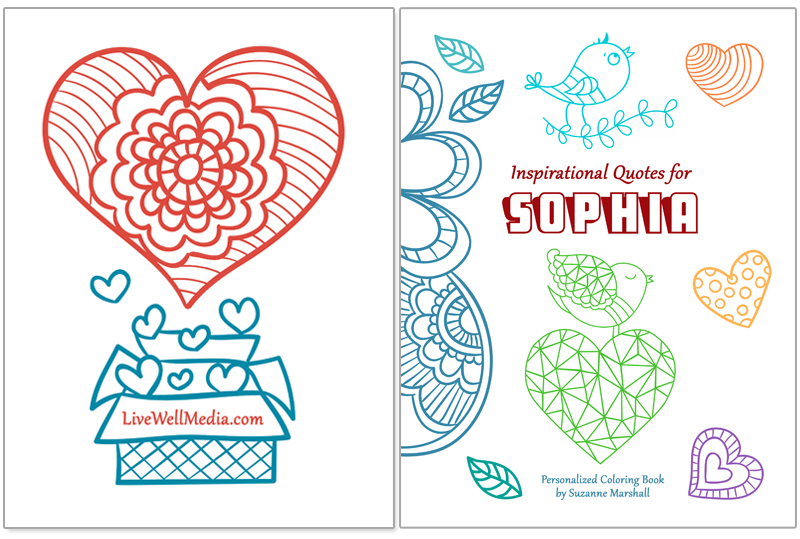 Inspirational Quotes for Kids - Personalized Book with Inspirational Coloring Pages - Front and Back Cover.